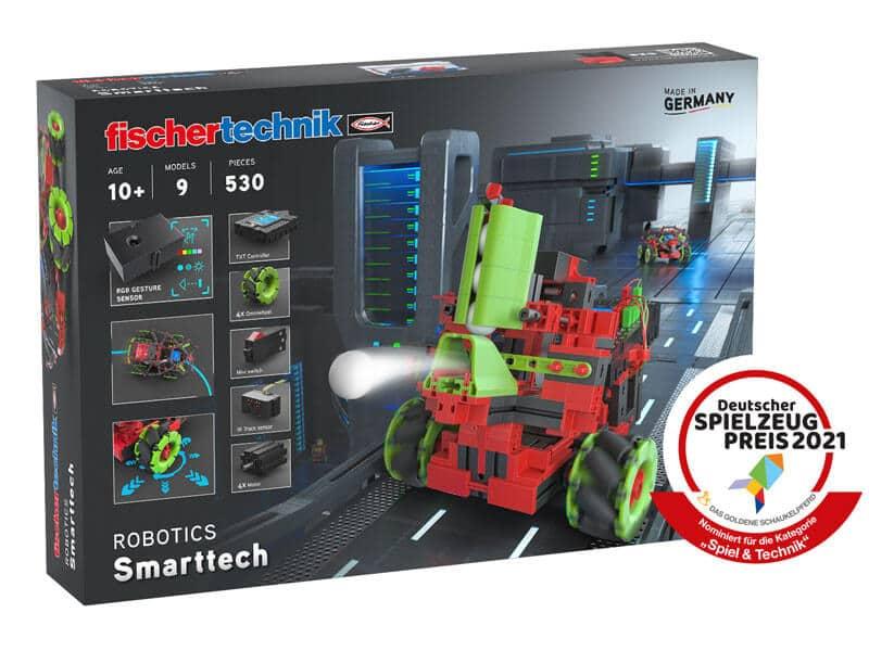 Robotik Kinderspielzeug – Baukasten Robotics Smarttech fischertechnik – Header Grafik Packshot